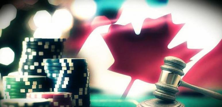 casino chips and canadian flag